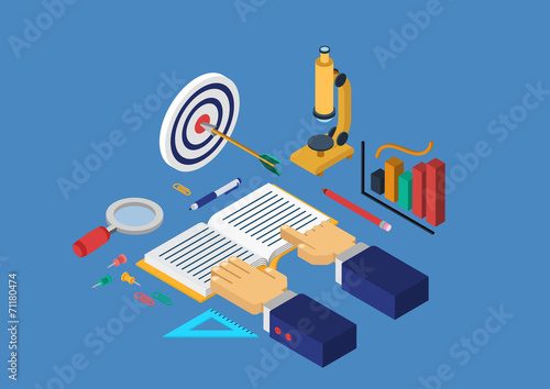 Flat 3d isometric concept vector infographics education science - 71180474