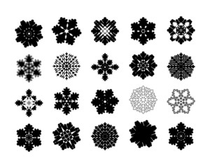 Set of 20 intricate geometric modern pattern snowflakes