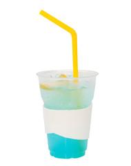 Blue italian soda in plastic cup