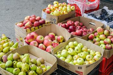 Коробки с яблоками и грушами