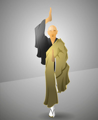 Buddhist monk exercising balance