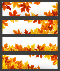 Vector banners with colorful autumn leaves. Eps-10.