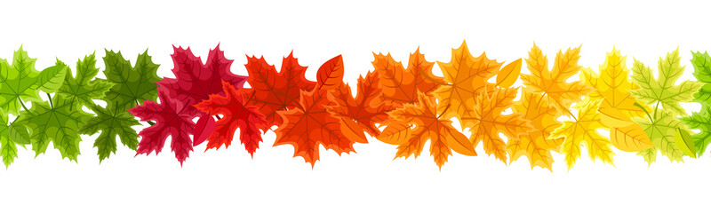 Horizontal seamless background with autumn colorful leaves.