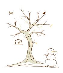 Birds on winter tree