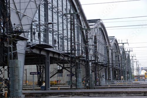 Fotobehang Treinstation Detailaufnahme vom Bahnhof Leipzig