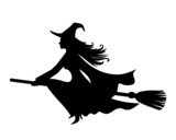 Witch on a broomstick. Vector black silhouette.