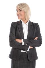 Lachende kompetente Businessfrau isoliert mit Blick seitlich