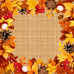 Background with autumn colorful leaves on a sacking fabric.