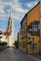BUDAPEST - JUNE 27: View to Matthias Church in the Castle Distri