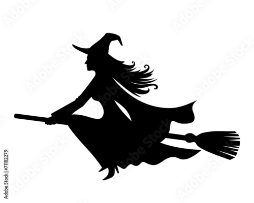 Witch on a broomstick. Vector black silhouette. - 71182279