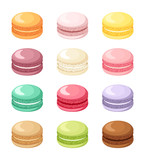Fototapety Set of colorful French macaroon cookies isolated on white.
