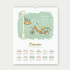 Calendar 2015 happy new year enjoy bicycle design