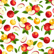 Seamless pattern with apples and leaves. Vector illustration.