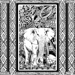 White Elephant Indian Ink Tribal Art