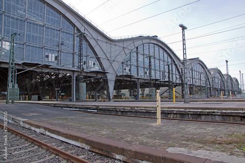 Leinwanddruck Bild Detailaufnahme vom Bahnhof Leipzig