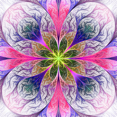 Beautiful fractal flower in pink and blue. Computer generated gr
