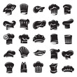 monochrome set of twenty five chef hats
