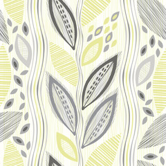 Seamless pattern  of abstract leaves. Hand-drawn floral backgrou