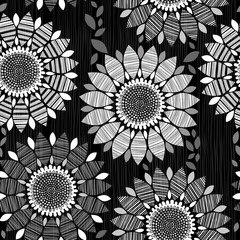 Monochrome seamless pattern of abstract flowers on a black backg
