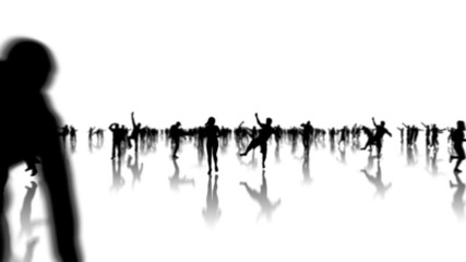 happy people silhouettes animation