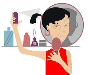 The girl looks in the mirror and uses cosmetics