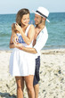 Happy young romantic couple in loveat beautiful summer day