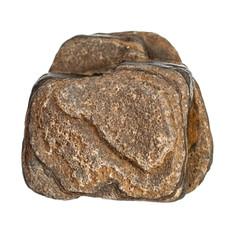 Brown stone rock on white