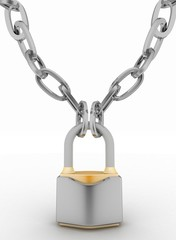 Chrome chain with a Padlock. 3d isolated on white