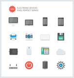 Pixel perfect electronic devices flat icons
