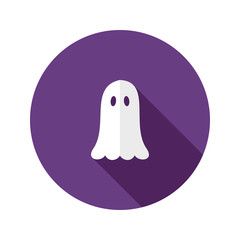 White Ghost Flat Icon over Purple