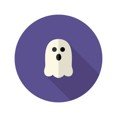 White Scary Ghost Flat Icon