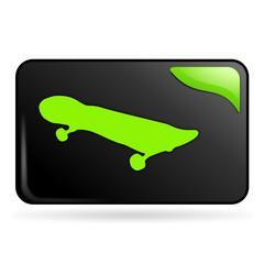 skateboard sur bouton web rectangle vert