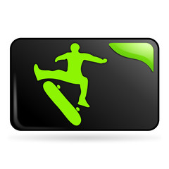 skate sur bouton web rectangle vert