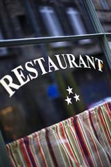 Facade of a three stars restaurant in France