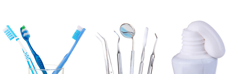 Tooth care collage isolated on white