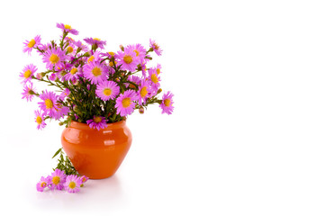 bouquet of pink flowers in a clay vase