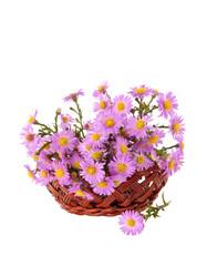 bouquet of flowers in a wicker basket