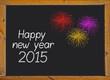 Happy new year 2015 written on a small blackboard