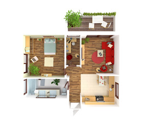 House plan top view - interior design