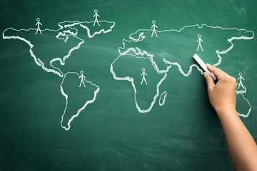 scribble sketch of global business on blackboard