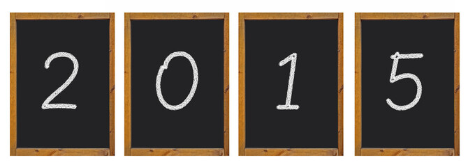 2015 written on blackboards with a wooden frame