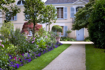 House in a beautiful garden in spring