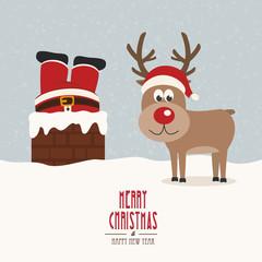 santa stuck in chimney vintage reindeer smile snow background
