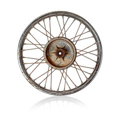Old motorcycle rim over white