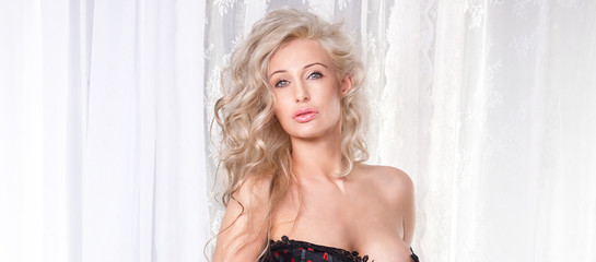 Beauty portrait of blonde lady