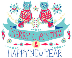 Christmas background with cute decorations and funny Owls