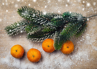 Christmas tree and tangerine