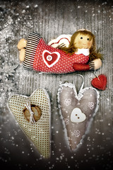Christmas angel and hearts