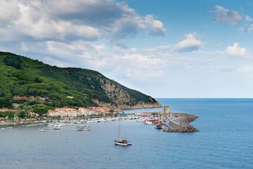harbor of Portoferraio on island elba at summer