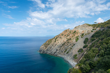 rocky coast of isle elba at wonderful dreamy summer day